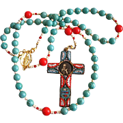 Catholic Rosary Genuine Turquoise and Coral with Pius XI Micromosaic 1925 Jubilee Cross -- XXXRare -- Wearable