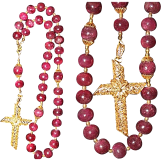 2 Way Wearable Beaded CHOTKI KOMBOSKINI Genuine Ruby, Vermeil Antique Filigree Cross - ORTHODOX Rosary
