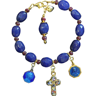 Catholic Rosary Bracelet faceted Genuine Sapphire, Ruby, Vermeil, Micromosaic & Vintage Enamel Medals