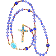 Catholic Rosary Genuine Round Clear Sapphire - Vintage Fatima Cross and Center