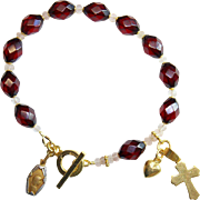 Catholic Rosary Bracelet Rare Diamond 1930's Cherry Bakelite & Vermeil- TESTED XXR