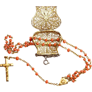 Vintage Pink Coral & Vermeil Catholic Rosary w Antique Vermeil Filigree Chained Box