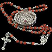 Vintage Coral & Vermeil Catholic Mini Red Coral Rosary w Vintage Small Sterling Filigree box