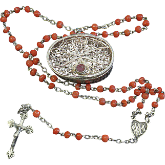 Vintage Coral & Vermeil Catholic Mini Red Coral Rosary w Vintage Small Sterling Filigree box