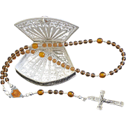 Vintage Amber, Enamel & Sterling Small Catholic Rosary With Filigree Sterling Silver Box
