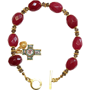 Anglican Rosary Bracelet Faceted Genuine Ruby Beads, Smoky Quartz, Micromosaic Cross & Vermeil