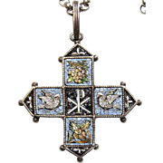 19th Cent. Sterling Silver Grand Tour High Detail Micro Mosaic Pendant Cross & Chain XXXRARE