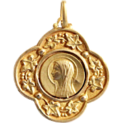 Vintage 18K. Gold Medal of Virgin Mary in Art Nouveau Style - Early XXth Cent