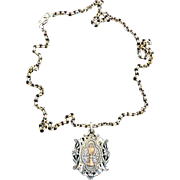 Rare Art Nouveau Sterling Silver and Gold Chalice First Communion Medal and Chain dd 1893