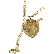 1930's New Old Stock Gold Plated First Communion Medal Pendant and Vermeil Chain