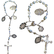 End 19th Century M.O.P and Sterling one Decade First Communion Rosary Chaplet with Very Rare Sterling Silver Medals