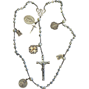 Exceptional 19th Century MOP & Sterling Catholic Rosary with Rare Antique Medals