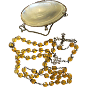 Vintage Faceted Citrine and Sterling Catholic Rosary with Rare Size Sea Shell Box - Very Unusual