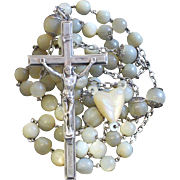 Early 20th Century Plain Mother of Pearl and Sterling Silver Catholic Rosary w Impressive Sterling Cross