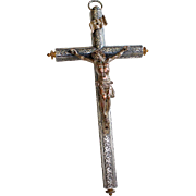 Large and Impressive Sterling & Bronze Corpus 19th Century Wall Hanging Cross