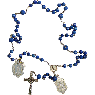 Late 19th Century Lapis Glass and Sterling Catholic Rosary Many Medals – French - Rare