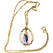 1920's Vintage Two sided Medal Mary Lady of Lourdes Hand Painted in 18K Gold Frame