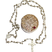 Vintage All Sterling Mini Catholic Rosary With Filigree Sterling Silver Box - Exquisite, Rare