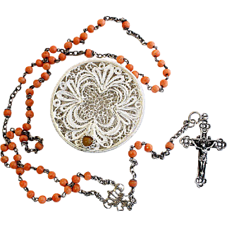 Vintage Pink Coral & Sterling Catholic Rosary w Vintage Small Sterling Filigree box