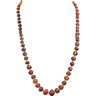 Genuine Baltic Amber Faceted & Graduated Necklace - Tested Vintage Item