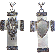 Impressive Rare French MOP & Sterling Large Pectoral 1st Communion Cross and Chain , Late 18th Early 19th Cent