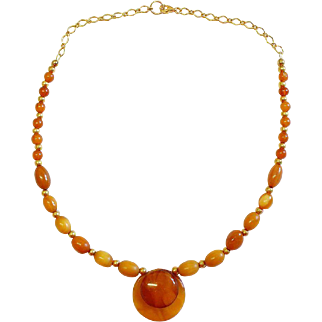 Genuine Baltic Butterscotch Amber and Vermeil Vintage Necklace - Tested