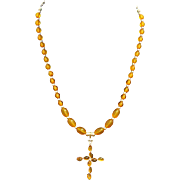 Baltic Amber and Sterling Vintage Necklace with Artisan Handmade Amber and Silver Cross Pendant