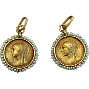 18 K Gold and Pearls 1 Pair Twin Medals Pendants Double face Mary and Lourdes Grotto - 1900's - Very Rare