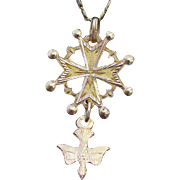 Vintage French Pendant Medal Huguenot Cross - 1930 's - Pristine condition.