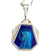 Vintage Silver Lourdes Holy Mary Blue Enameled on Both Sides Large Medal with Chain