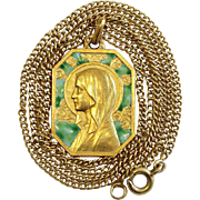 Exceptional Vintage 18 K Gold Chain AND Plique-à-Jour Virgin Mary Pendant Medal 1930's - Pristine and Unique