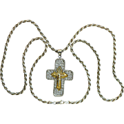 Early 20th Cent. Russian Vermeil Pectoral Cross in Sterling and Zircon Frame with Sterling Chain, a Unique Jewel