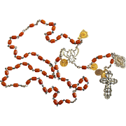 DD 1922 a Vintage Catholic Rosary Butterscotch Baltic Amber & Sterling Silver with 18K Gold Medals - Extreme Rarity