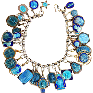 Religious Vintage Sterling Silver Charm Bracelet with 32 Rare Pristine Religious Medals Enameled on Both Side
