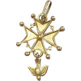 Vintage French Pendant 18 K. Solid Gold Medal Huguenot Cross - 1930 's - Pristine condition