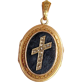 Victorian Onyx & 18K. Gold Locket with Tested Diamonds Cross - Pristine - High Rarity