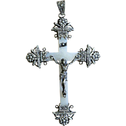 Rare - Very Early Art Nouveau Mother of Pearl and Sterling Silver Cross - Pendant First Communion Souvenir
