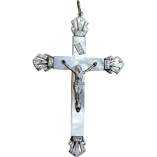 French Mother of Pearl & Sterling Cross, Crucifix – Early Art Deco Period - Rare, Pristine