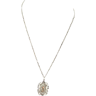 Rare Art Nouveau Sterling Silver and Gold Chalice First Communion Medal and Chain dd 1900.