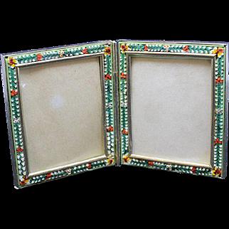 Vintage Millefiori Micro Mosaic PAIR of Hinged LARGE Photo Frames New Old Stock Pristine Rare