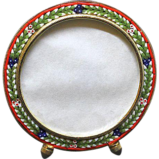Vintage Micro mosaic Round Picture Frame No 8 New Old Stock Pristine Rare