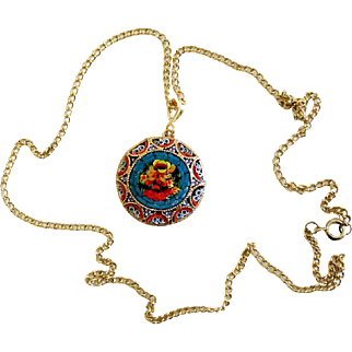 Vintage Micro Mosaic Round Pendant W Chain No 40 New Old Stock Rare Pristine