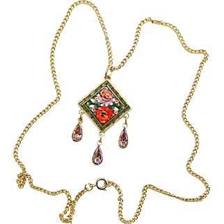 Vintage Micro Mosaic Square Diamond Shape Pendant W Chain New Old Stock Rare Pristine