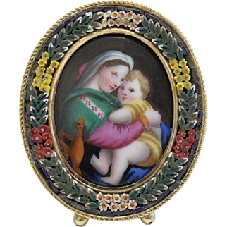 1930's Fine Miniature Hand Painting - Madonna of the Chair - in Micro Mosaic Frame