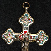 Antique micro mosaic cross - crucifix - Italian grand tour item- 2- Fine work