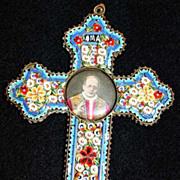 Vintage Papal micro mosaic cross - crucifix PIUS XI , 1925, Very Rare