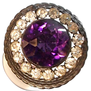 Rhinestone and Amethyst Hatpin