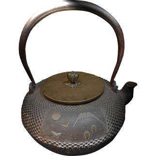 Mixed Metal Japanese IronTeapot signed