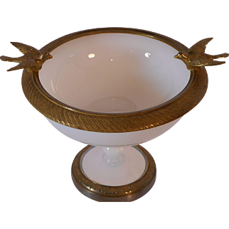 French Opaline and Bronze Compote with Birds