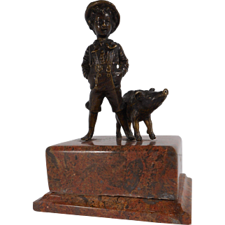 Victorian Bronze of Boy with Pig